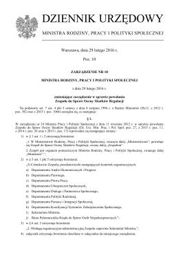 Poz. 10 - Ministerstwo Pracy i Polityki Społecznej