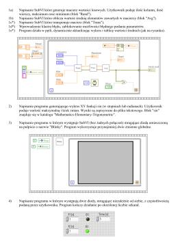 1a) Napisanie SubVI które generuje macierz wartości losowych