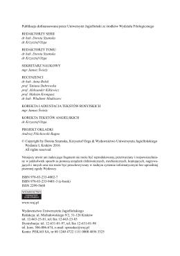 Publikacja dofinansowana przez Uniwersytet Jagielloński ze