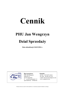 Pobierz cennik - Jan Wengrzyn