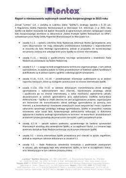 Raport o niestosowaniu wybranych zasad ładu