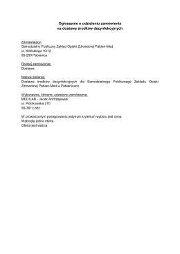 Ogłoszenie o udzieleniu zamówienia środki - Pabian-Med
