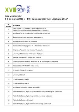 Lista wystawców 8-9-10 marca 2016 r. – XVII