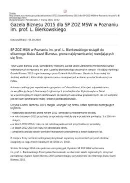 Gazela Biznesu 2015 dla SP ZOZ MSW w Poznaniu im. prof. L