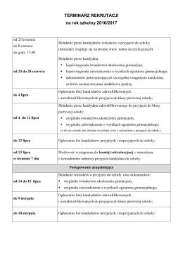 Terminarz rekrutacji 2016/17