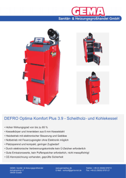 DEFRO Optima Komfort Plus 3.9 - Scheitholz