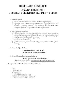 regulamin konkursu - I LO Dubois w Koszalinie