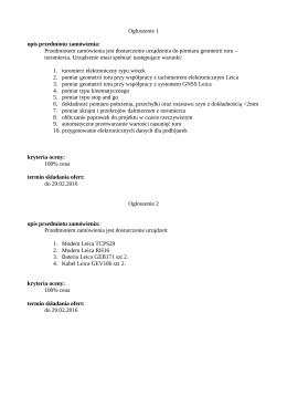Ogłoszenie 1 opis przedmiotu zamówienia