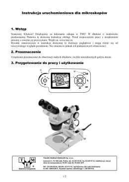 Instrukc a uruchomieniowa dla mikroskopów