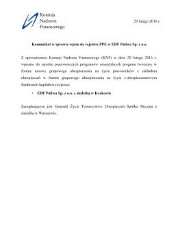 Komunikat w sprawie wpisu do rejestru PPE w EDF Paliwa Sp. z o.o.