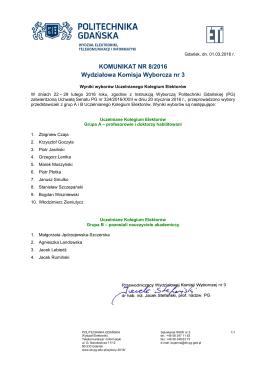 KOMUNIKAT NR 8/2016 Wydziałowa Komisja Wyborcza nr 3