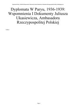Dyplomata W Paryu, 1936-1939: Wspomnienia I Dokumenty