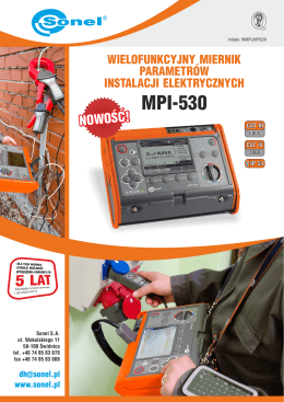 Karta katalogowa Sonel MPI-530