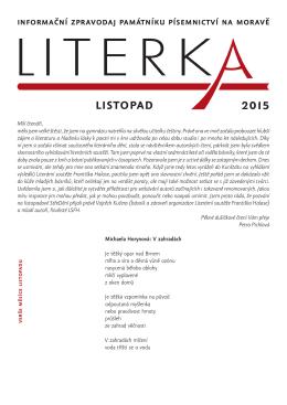listopad 2015 - Památník písemnictví na Moravě