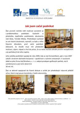 Jak jsem začal podnikat - Obchodní akademie Český Těšín