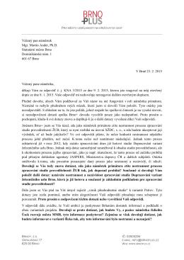 Brno+ reaguje a odesílá další otevřený dopis
