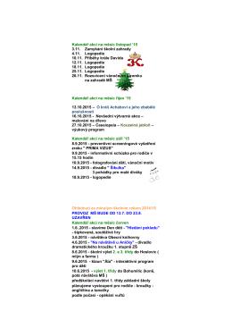 Kalendář akcí na měsíc listopad `15 3.11. Zamykání školní zahrady