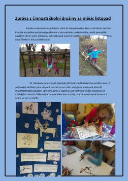 Zpráva z činnosti školní družiny za měsíc listopad