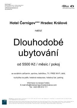 Hotel Černigov*** Hradec Králové od 5500 Kč / měsíc / pokoj