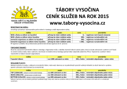 TÁBORY VYSOČINA CENÍK SLUŽEB NA ROK 2015 www.tabory