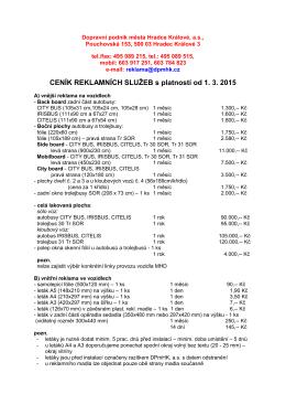 CENÍK REKLAMNÍCH SLUŽEB s platností od 1. 3. 2015