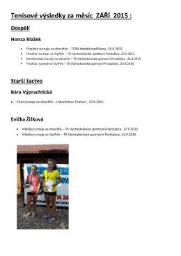 Tenisové výsledky za měsíc ZÁŘÍ 2015 :