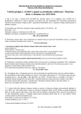 Vnitřní předpis o úplatě - mateřská škola moravské budějovice