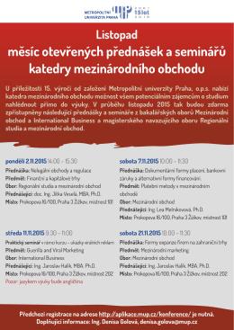 měsíc otevřených přednášek a seminářů katedry mezinárodního