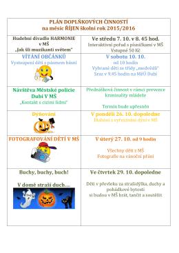 PLÁN DOPLŇKOVÝCH ČINNOSTÍ na měsíc ŘÍJEN školní rok 2015
