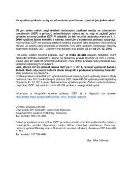 Upozornění Úřadů Práce na výměnu průkazů OZP