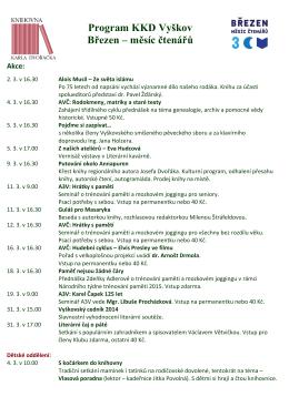 Program KKD Vyškov Březen – měsíc čtenářů