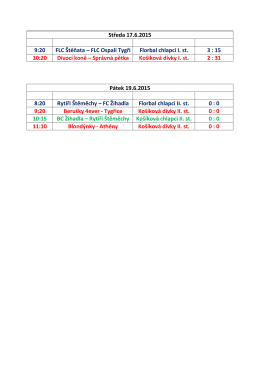 rozlosování - finále 19.6.2015