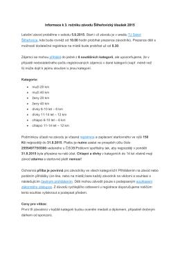 Informace k 3. ročníku závodu Šilheřovický šlaušek 2015 Letošní