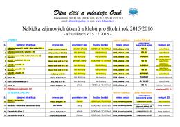 Nabídka zájmových útvarů a klubů pro školní rok 2015