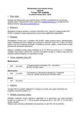 Rozpis turnaje TOP mládeže - Středočeský svaz stolního tenisu