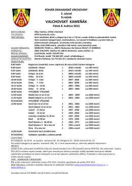 Propozice 9.ročník Kameňák 8.5.2015