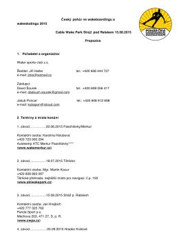 Page 1 Český pohár ve wakeboardingu a wakeskatingu 2015 Cable