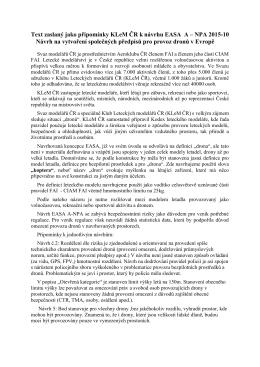 Připomínky KLeM ČR k návrhu EASA