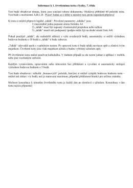 Informace k 1. ctvrtletnimu testu, 7. trida