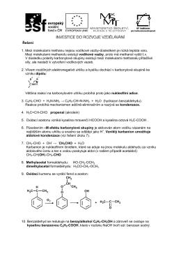 Řešení 1. Mezi molekulami methanu nejsou vodíkové vazby