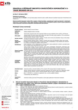 Pravidla k přípravě obecných investičních doporučení v XTB