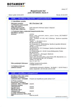 Bezpečnostní list (B) - Botament Systembaustoffe
