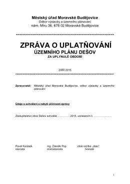 Zpráva o uplatňování Územního plánu města Moravské