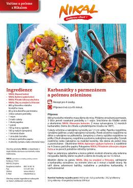 Karbanátky s parmezánem a pečenou zeleninou Ingredience
