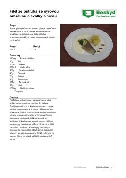 Filet ze pstruha se sýrovou omáčkou a oválky s nivou