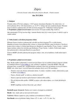 Zápis z Členské schůze ze 14. května 2014
