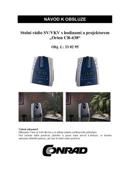 NÁVOD K OBSLUZE Stolní rádio SV/VKV s hodinami a projektorem