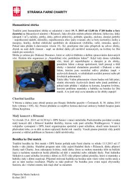 STRÁNKA FARNÍ CHARITY Humanitární sbírka Charitní kasička