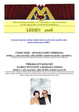 PROGRAM NA LEDEN - Kultura Nová Paka