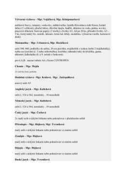 Výtvarná výchova – Mgr. Vojáčková, Mgr. Königsmarková